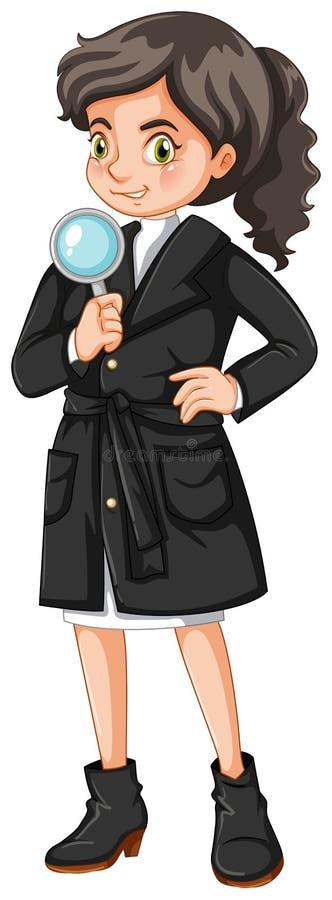 Detective de sexo femenino con la lupa ilustración del vector