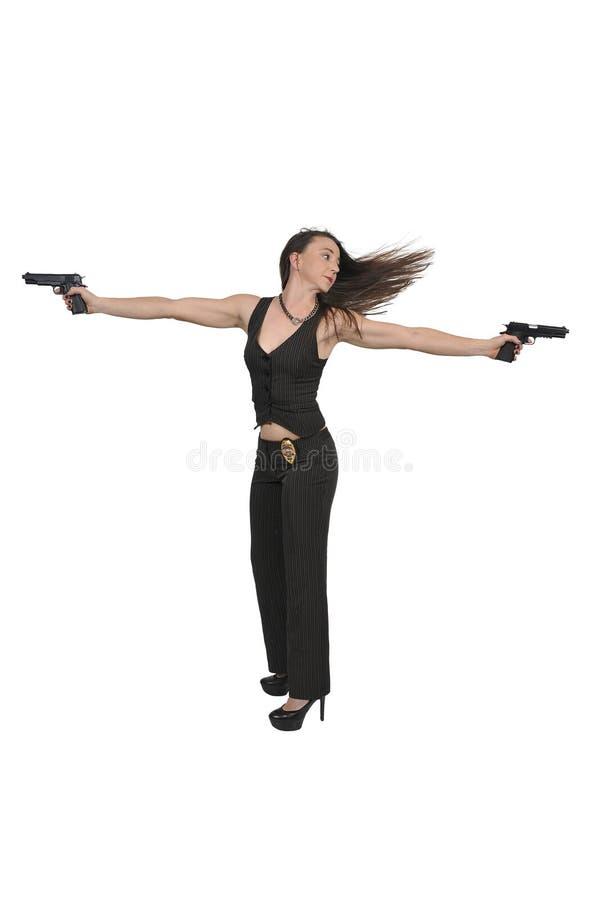 Detective de sexo femenino con los armas foto de archivo libre de regalías