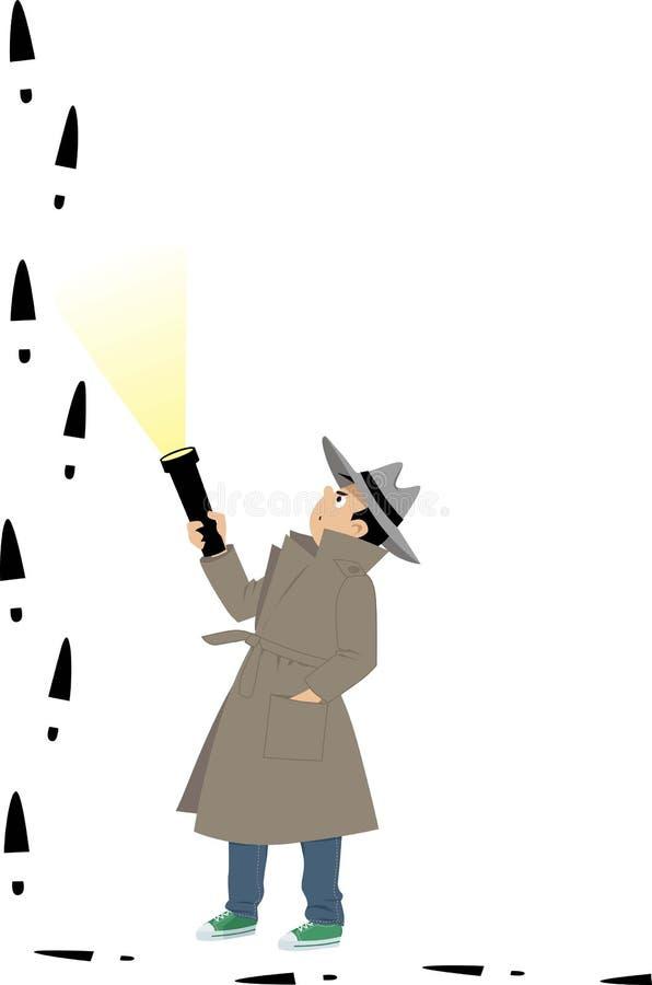 Detective del muchacho que sigue un avance libre illustration