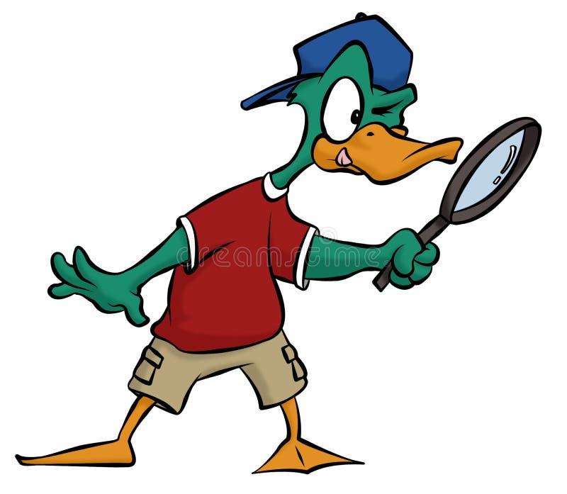 Detective del pato stock de ilustración