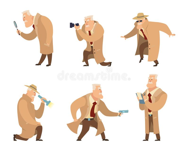 Detective in different action pose. Vector character in cartoon style. Detective character police, person inspector and investigator illustration vector illustration