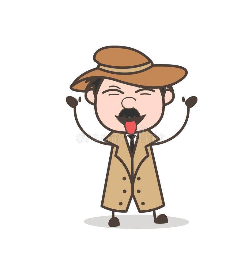 Detective divertido Laughing de la historieta y ejemplo de tomadura de pelo del vector de la lengua stock de ilustración