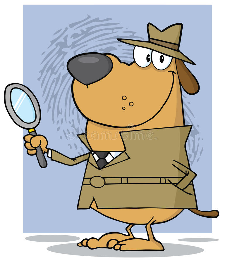 Detective dog holding a magnifying glass royalty free illustration