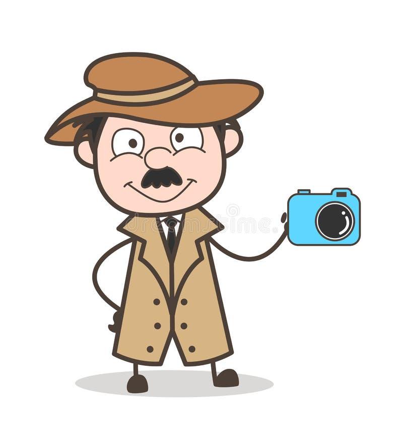 Detective Doing Advertisement de la historieta para el concepto del vector de la cámara digital ilustración del vector