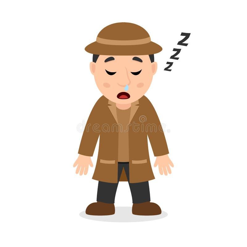 Detective durmiente Cartoon Character stock de ilustración