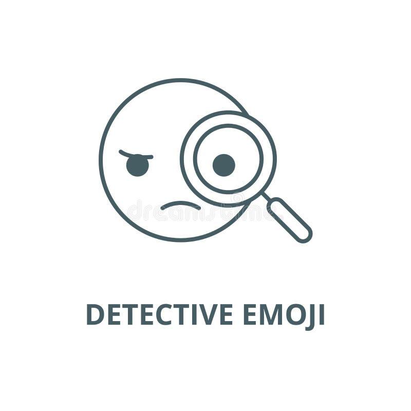 Detective emoji line icon, vector. Detective emoji outline sign, concept symbol, flat illustration. Detective emoji line icon, vector. Detective emoji outline royalty free illustration