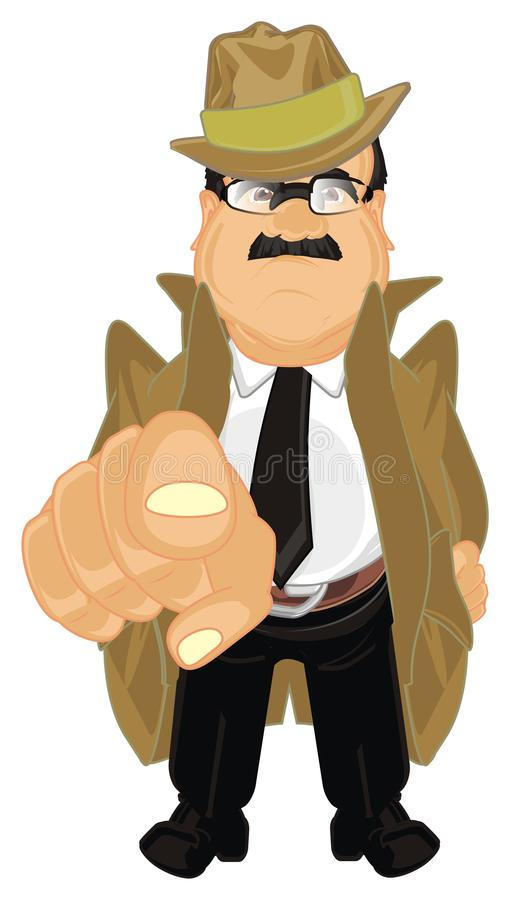 Detective en gebaar stock illustratie