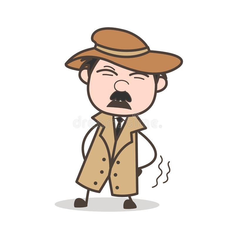 Detective Getting Ache de la historieta en el ejemplo del vector de la cintura stock de ilustración