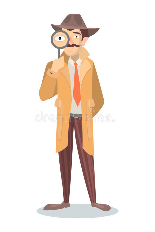 Detective with glass. stock illustration