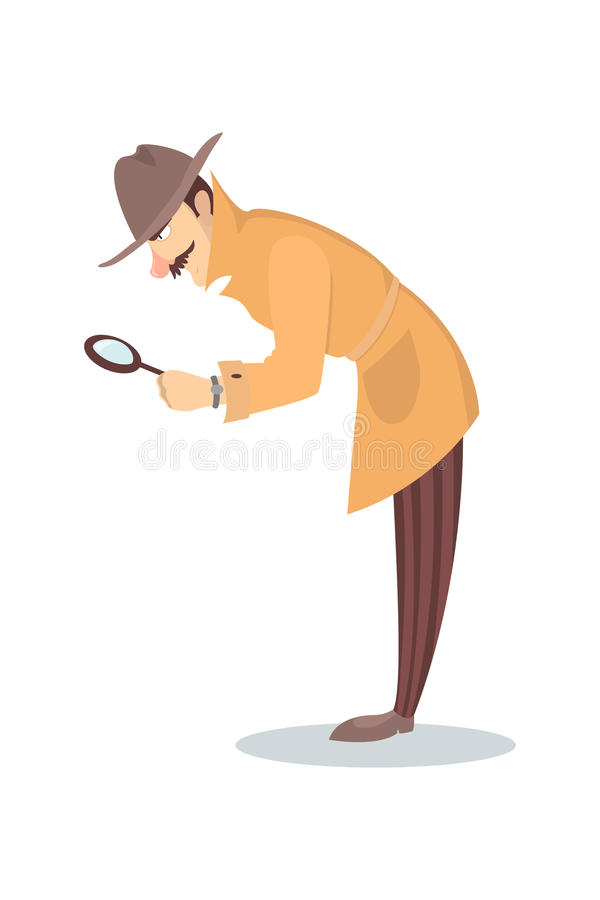 Detective with glass. vector illustration