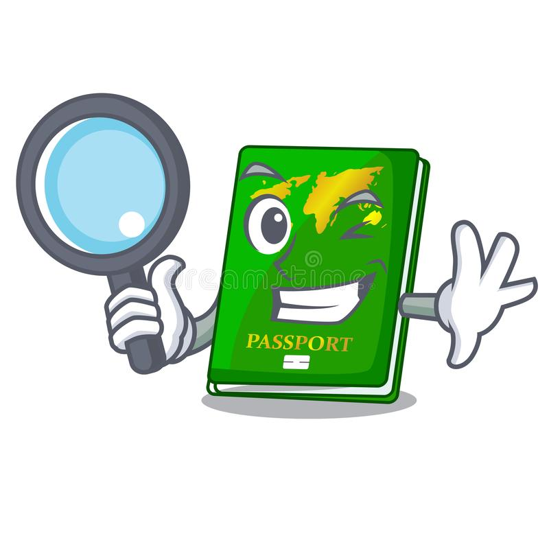 Detective green passport in the cartoon shape. Vector illustration vector illustration