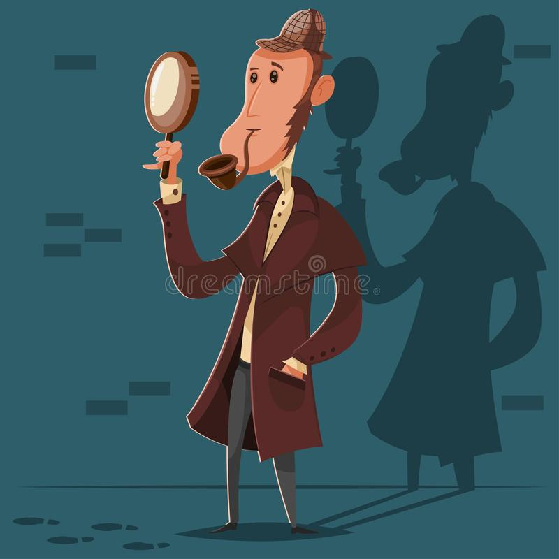 Detective in a hat with a smoking pipe and a magnifying glass. Vector cartoon character of a male investigator royalty free illustration