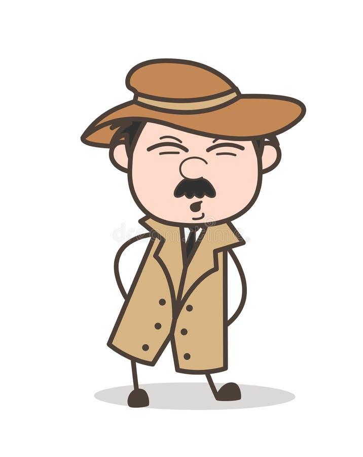 Detective Having Pain de la historieta en el ejemplo del vector de la cintura stock de ilustración