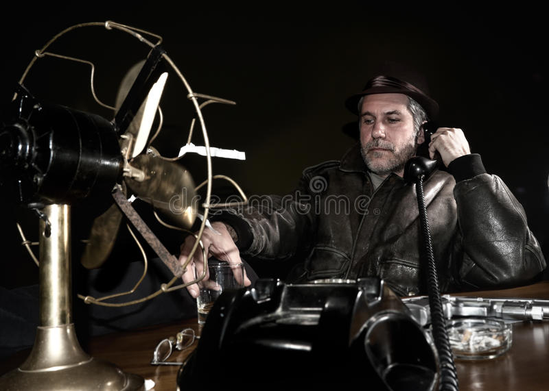 Detective in his office royalty free stock photo