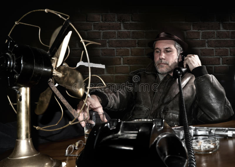 Detective in his office royalty free stock photography