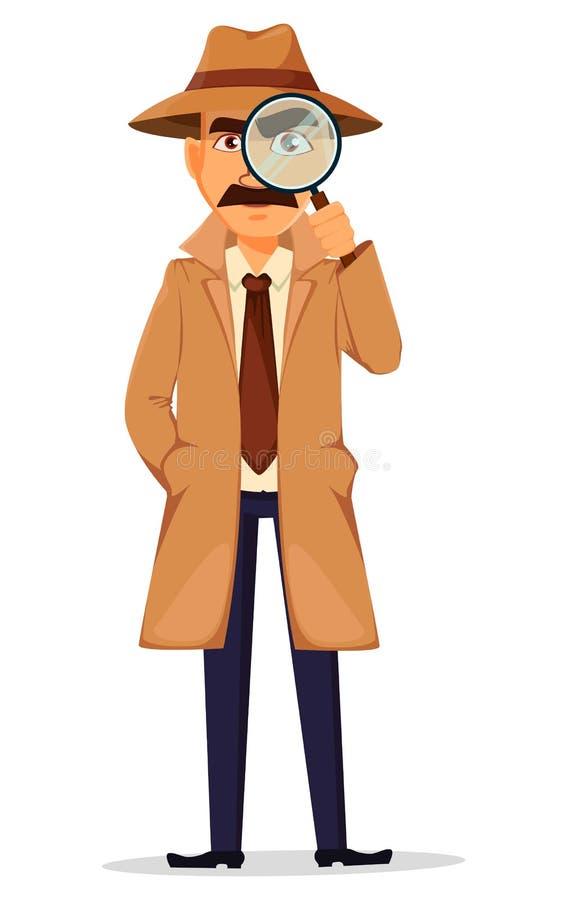 Detective in hoed en laag Knap karakter vector illustratie