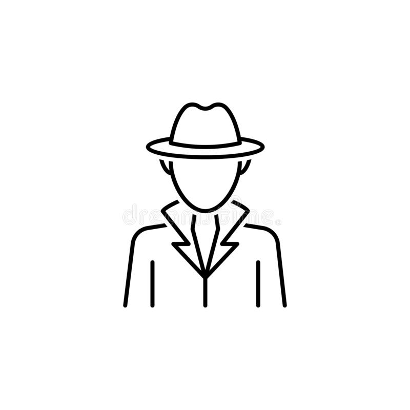 Detective icon. Element of legal services thin line icon. On white background royalty free illustration