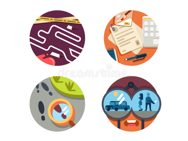 Detective icon set vector illustration