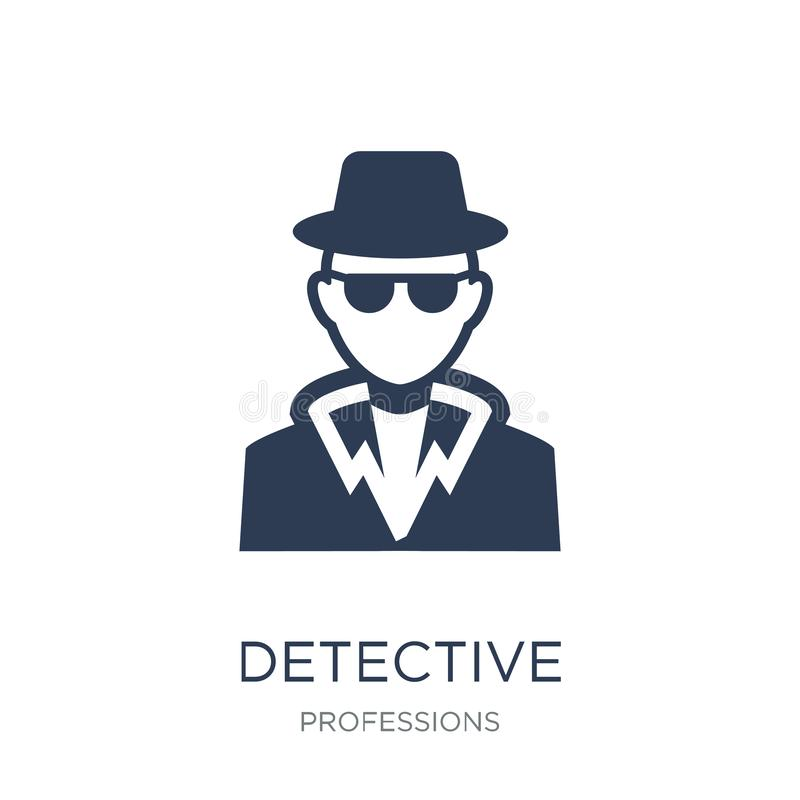 Detective icon. Trendy flat vector Detective icon on white background from Professions collection. Vector illustration can be use for web and mobile, eps10 stock illustration