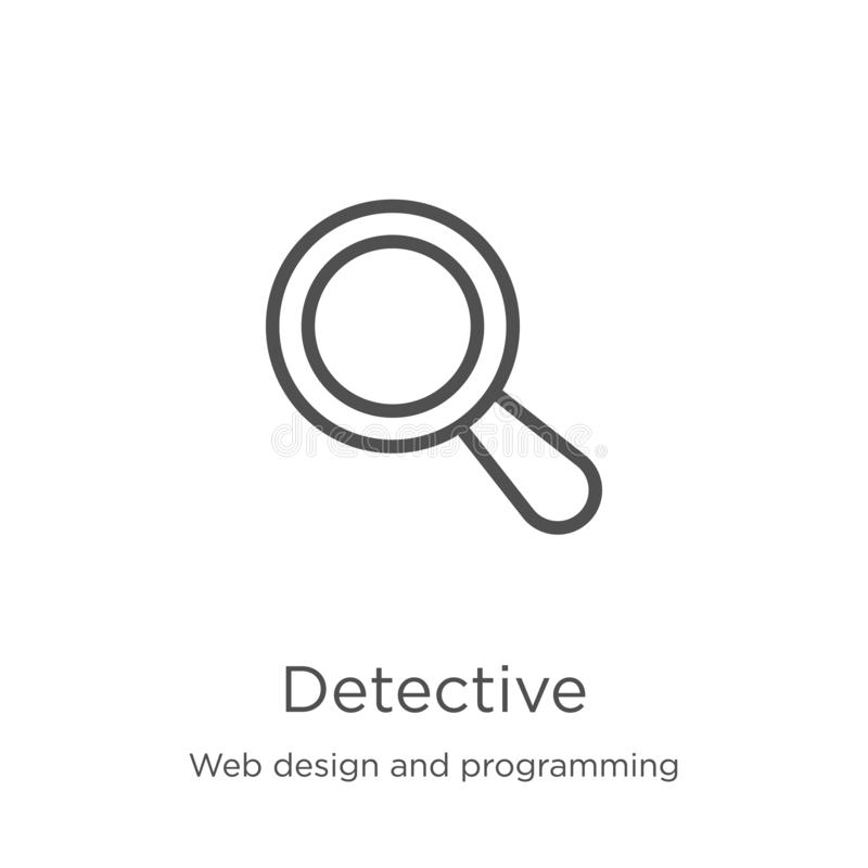 Detective icon vector from web design and programming collection. Thin line detective outline icon vector illustration. Outline,. Detective icon. Element of web vector illustration