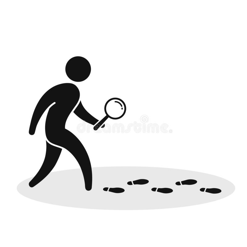 Free Detective Investigate Is Following Footprints. Man With Loupe Search Footstep Vector Illustration Stock Photo - 202460030