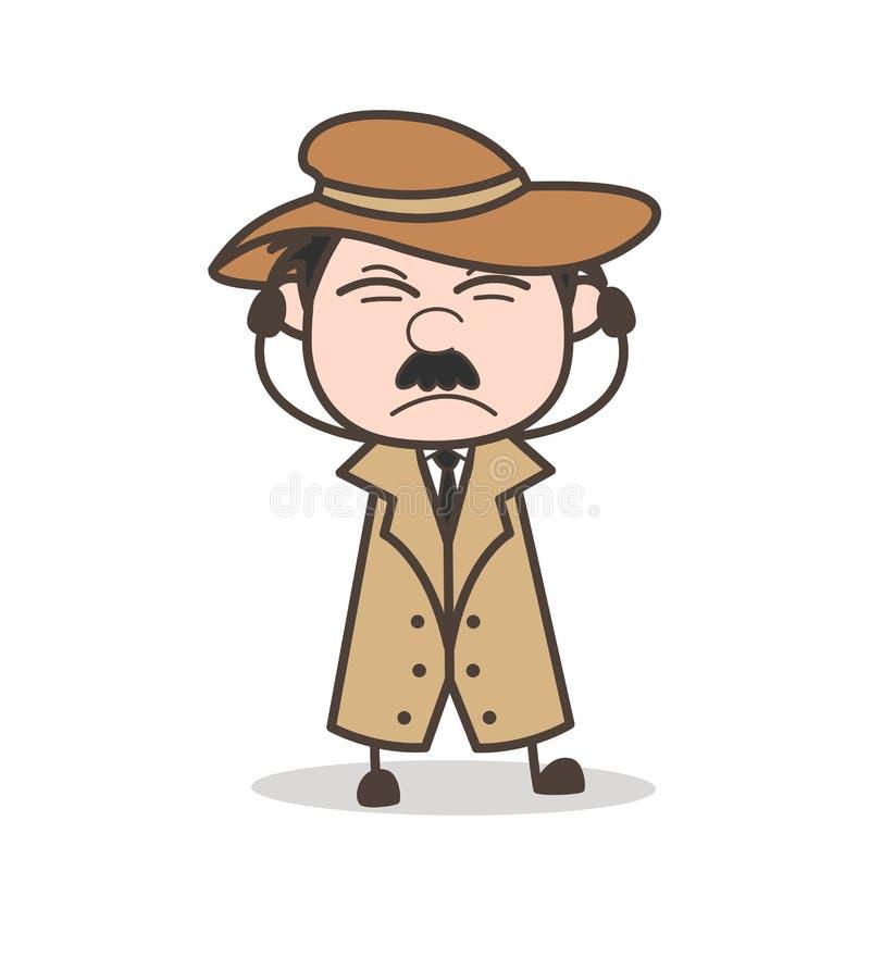 Detective irritado historieta Expression Vector Illustration stock de ilustración
