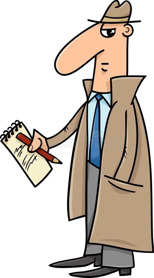 Detective or journalist cartoon illustration royalty free illustration