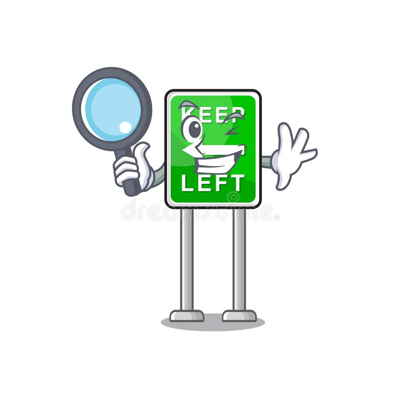 Detective Keep left fumon ha isolato la mascotte illustrazione vettoriale