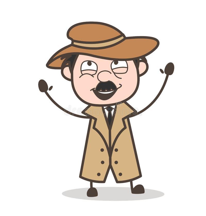 Detective Laughing Face Expression de la historieta stock de ilustración