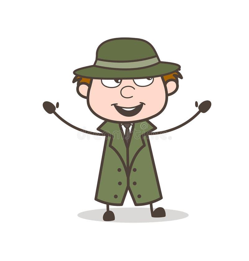Detective Laughing y gesticular de la historieta el ejemplo del vector stock de ilustración