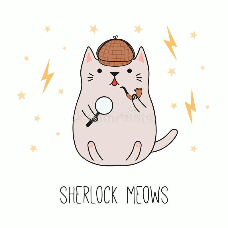 Detective lindo del gato stock de ilustración