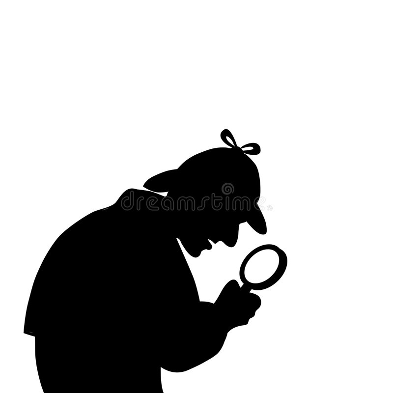 Detective with a magnifying glass stock photos