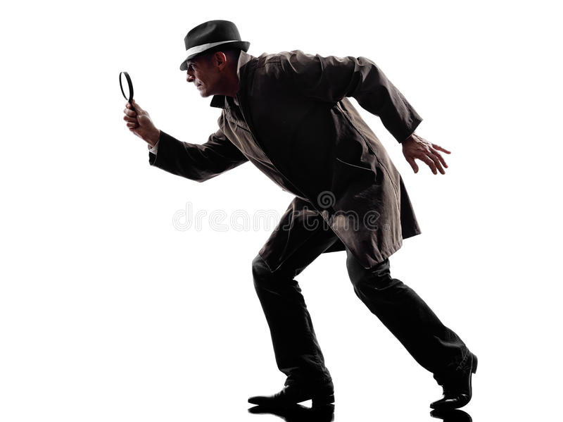 Detective man criminal investigations silhouette royalty free stock photography