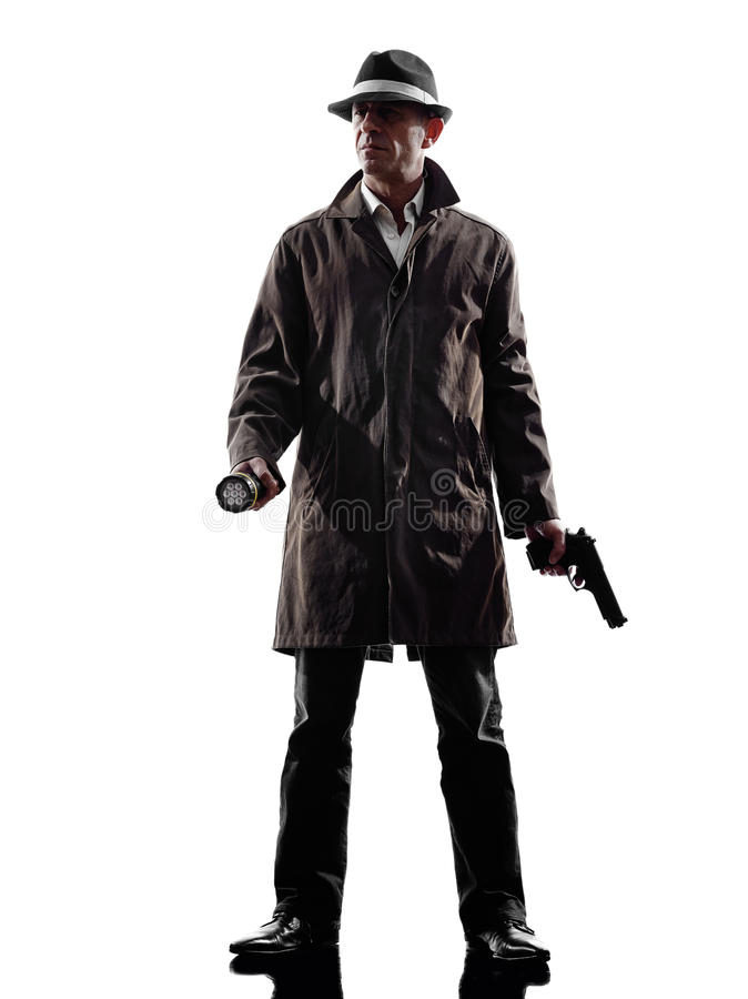 Detective man criminal investigations silhouette royalty free stock photos