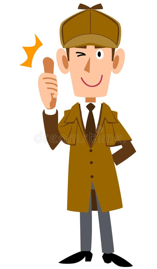 Detective man to thumb up. The image of a Detective man to thumb up stock illustration
