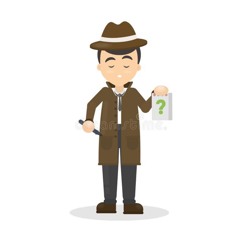 Detective met vragen vector illustratie