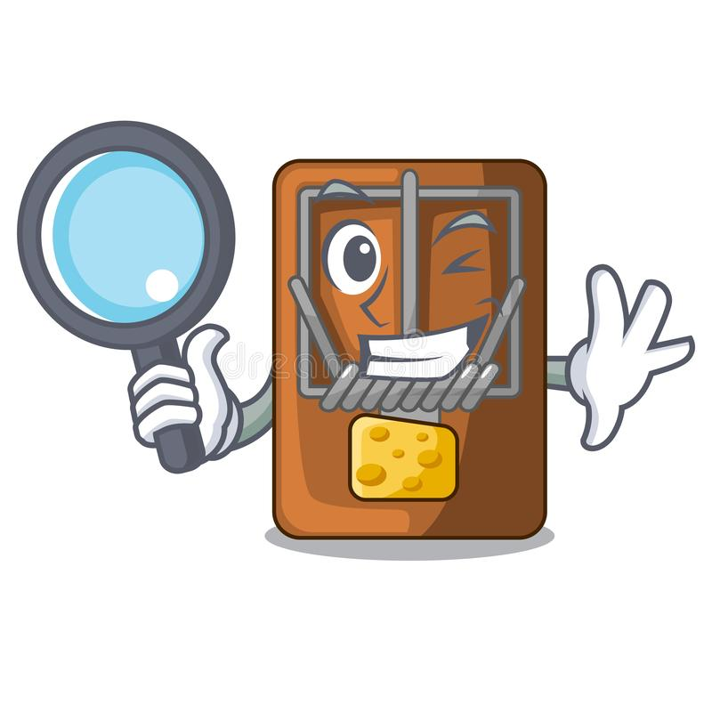 Detective mousetrap in the shape mascot wood. Vector illustration royalty free illustration