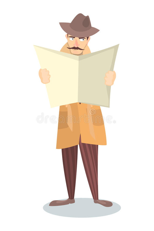 Detective with newspaper. stock illustration