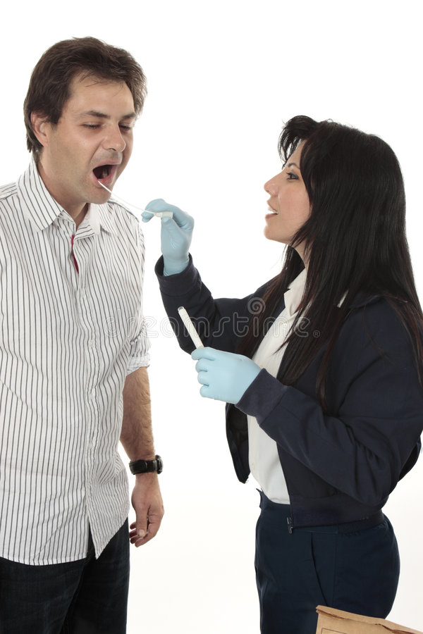 Detective obtaining a dna sample royalty free stock image
