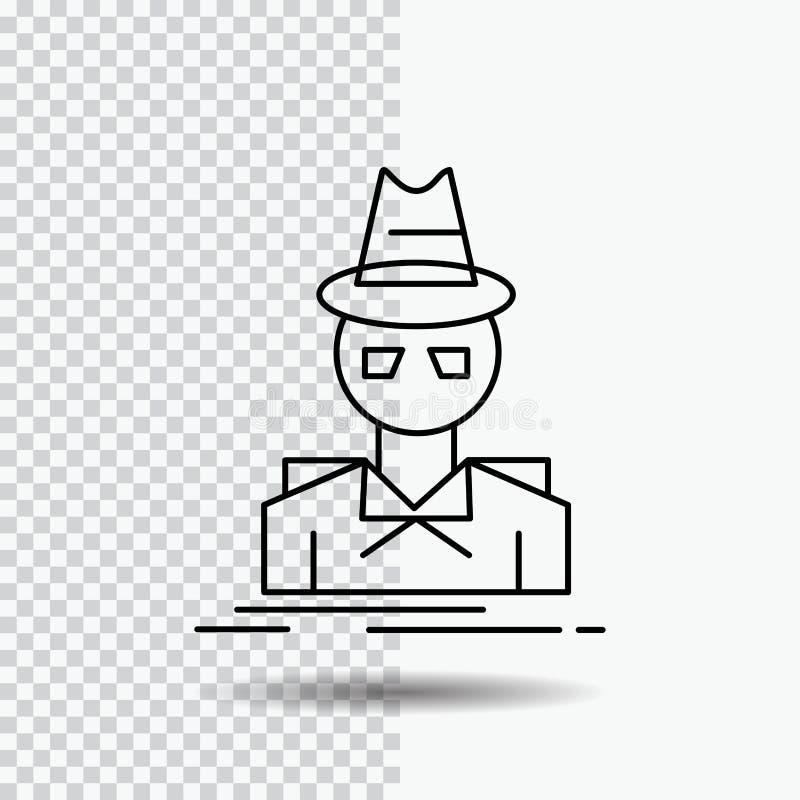 Detective, pirata informático, incógnito, espía, ladrón Line Icon en fondo transparente Ejemplo negro del vector del icono libre illustration