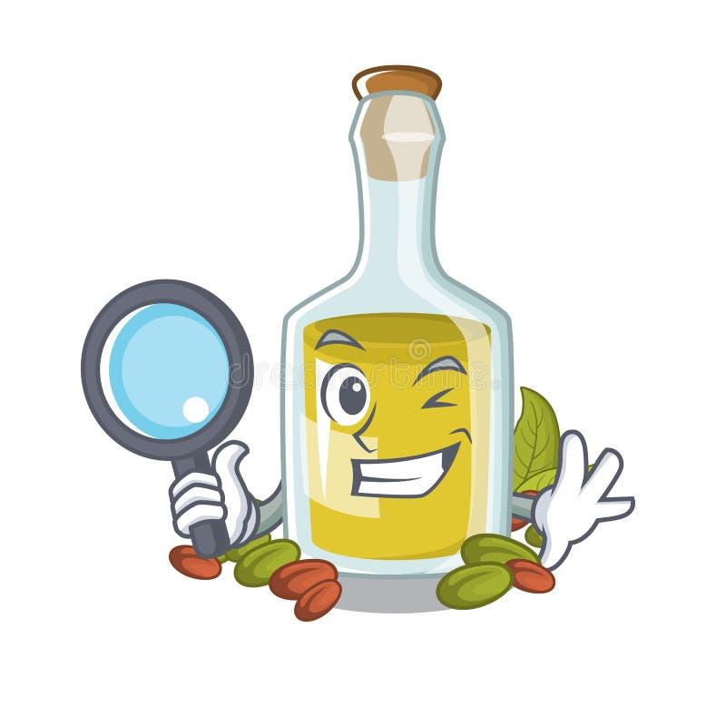 Detective pistachio oil above tables cartoon wood stock illustration
