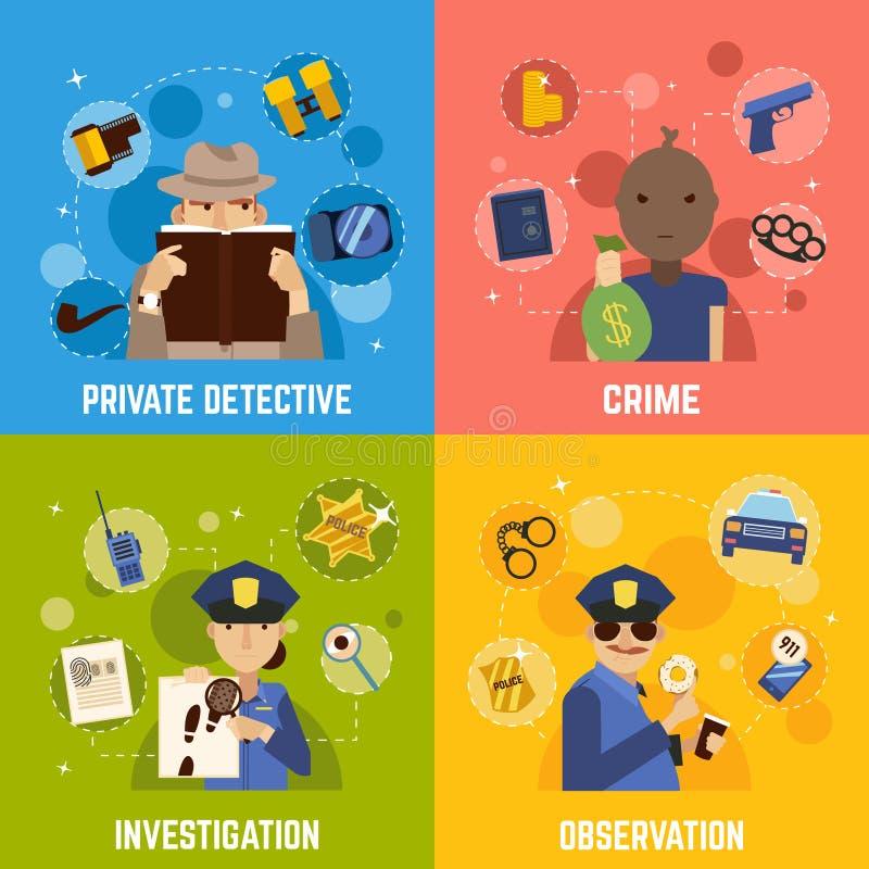 Detective privado Concept Icons Set libre illustration