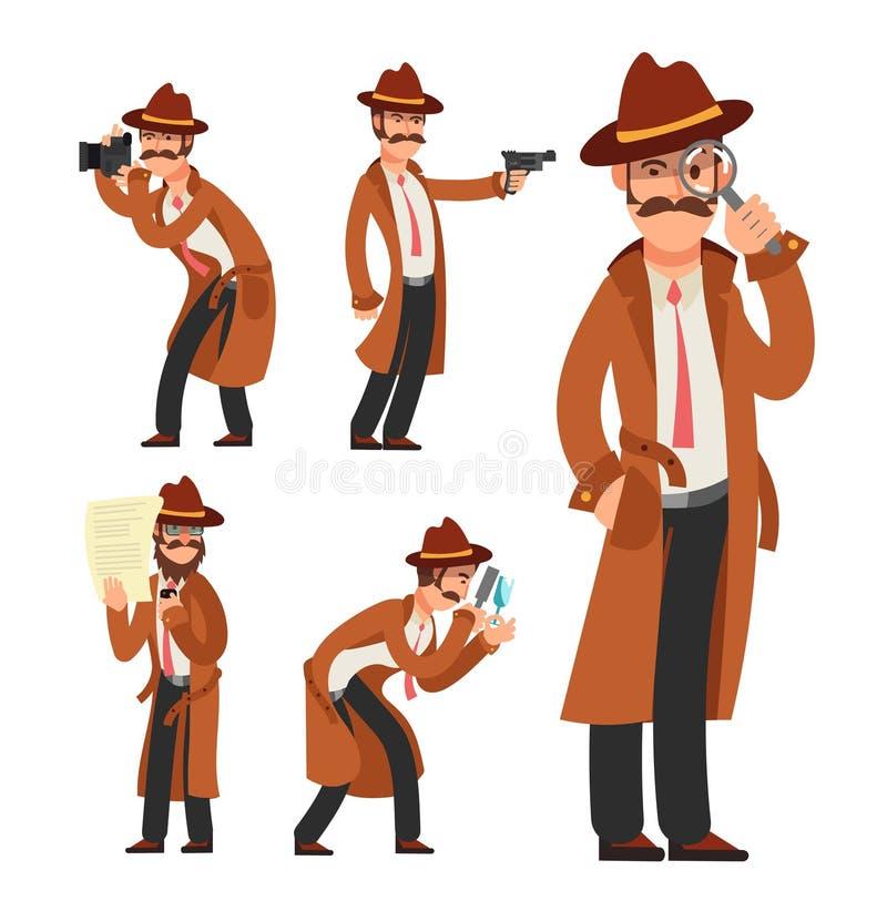 Detective privado de la historieta Juego de caracteres del vector del inspector de policía stock de ilustración
