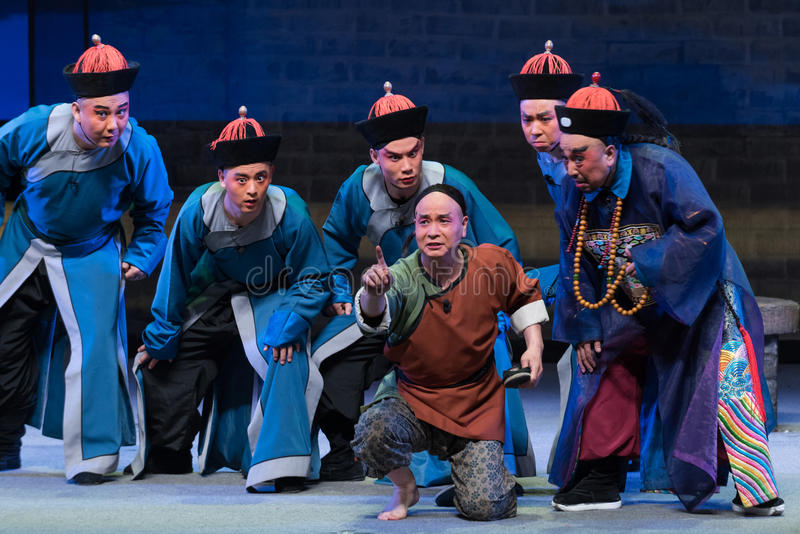 "Detective Report-Shanxi Operatic""Fu Shan to Beijing"". Fu Shan Beijing reflects the Fu Shan in Beijing, to be a true story of the words learned macro stock photo"