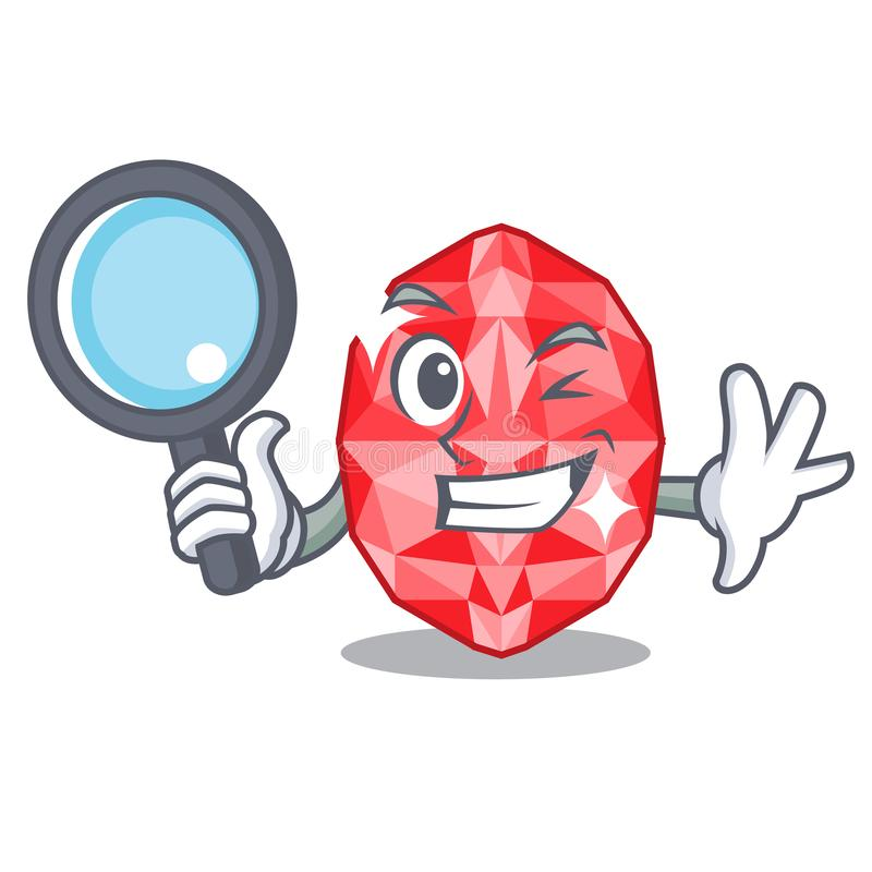 Detective ruby gems isolated with the character stock illustration