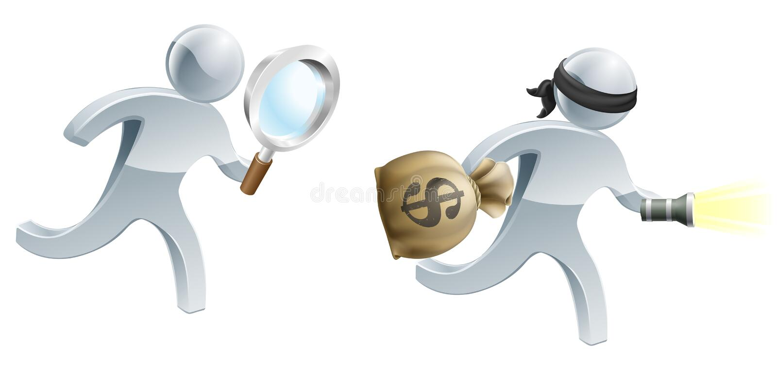 Detective running after thief stock illustration
