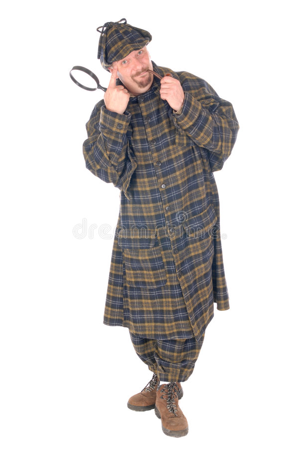 Detective, sherlock holmes. Male police officer dressed up as Sherlock Holmes investigating crime scene with magnifying glass. White background royalty free stock image