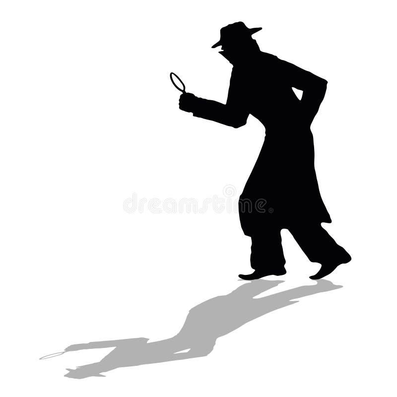 Detective silhouette stock illustration