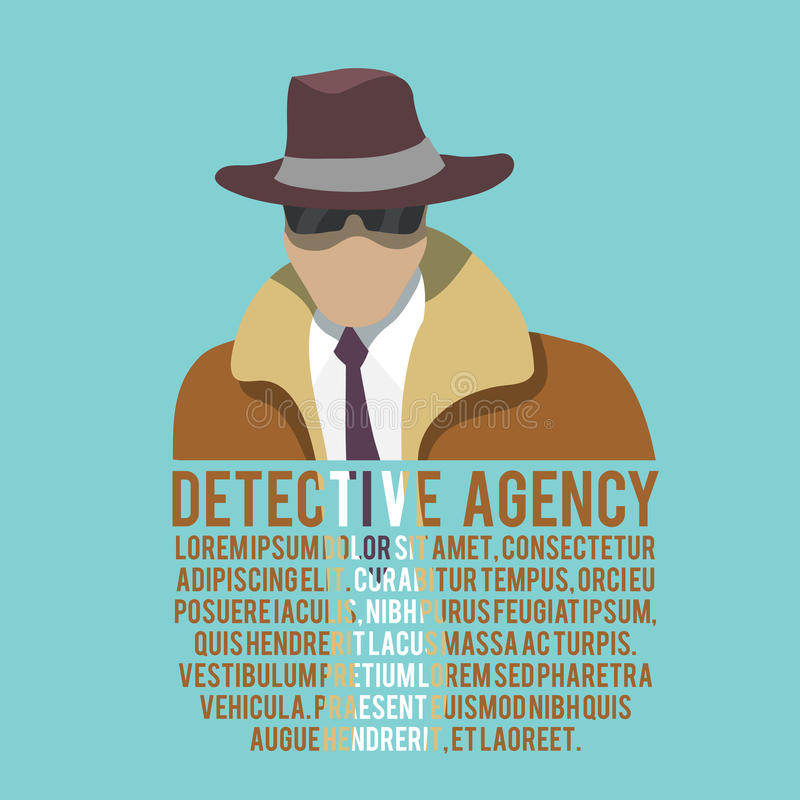 Detective silhouette poster royalty free illustration