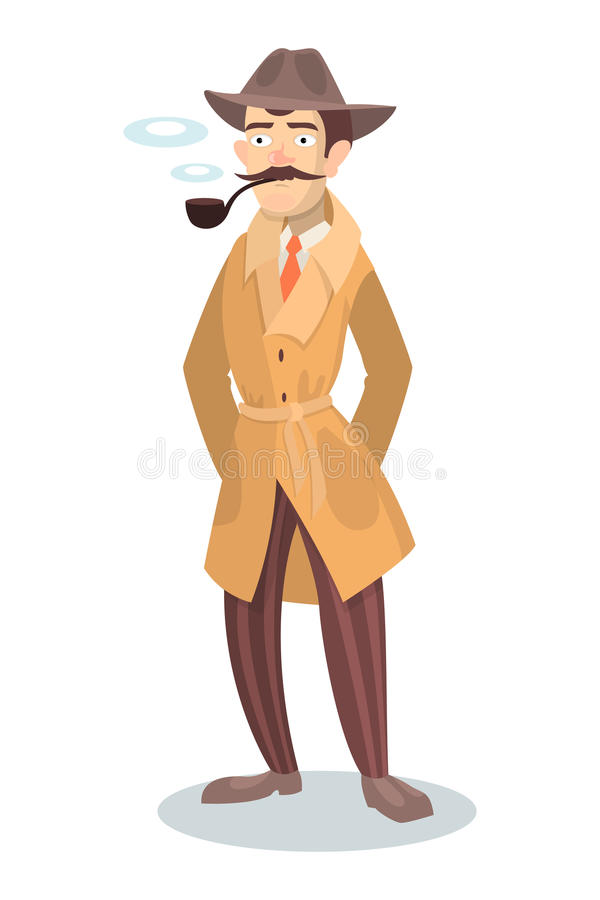 Detective with smoking pipe. vector illustration